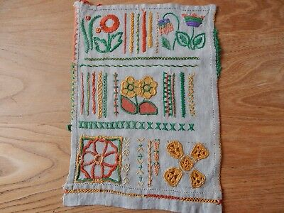 Embroidery Sampler withlovely hand sewn stitches Unframed 20x28cm