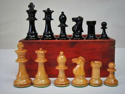 """Vintage  Chess Set Weighted French  Staunton Pattern K 3""""+Orig  Box - No Board"""
