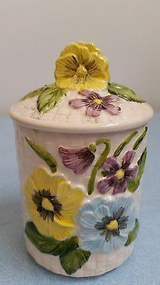 Lovely Vintage Retro  ceramic Pansie dish_pot with lid_dressing table! 7093