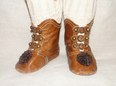 """Leather rusty brown high shoes French Jumeau style for antique doll 3"""" 1/2"""