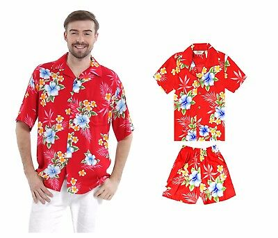 9a466a7c4cfc Father Son Matching Aloha Shirts Hawaiian Dance Luau Party Cruise Hibiscus  Red