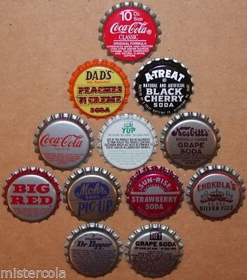 Vintage soda pop bottle caps 12 DIFFERENT plastic lined mix #11 new old stock