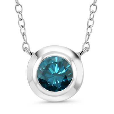 0.80 Ct Round Blue Diamond 925 Sterling Silver Pendant With Chain