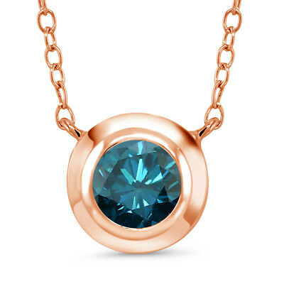 0.80 Ct Round Blue Diamond 18K Rose Gold Plated Silver Pendant With Chain