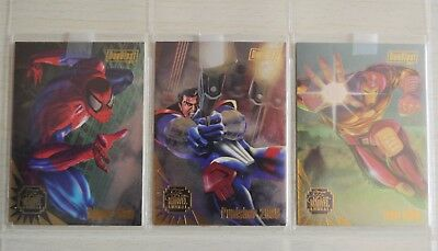 Flair '95 Marvel Annual Fleer - 1995 DUO BLAST SPIDER-MAN PUNISHER IRON MAN SET