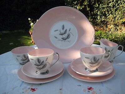 """Vintage Queen Anne 'Harvest Pink"""" Tea for two"""