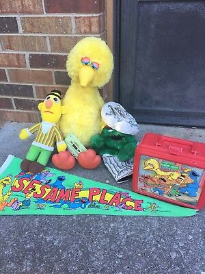 Vintage Sesame Street Big Bird Story Magic With Tape, Lunch Box And Lot