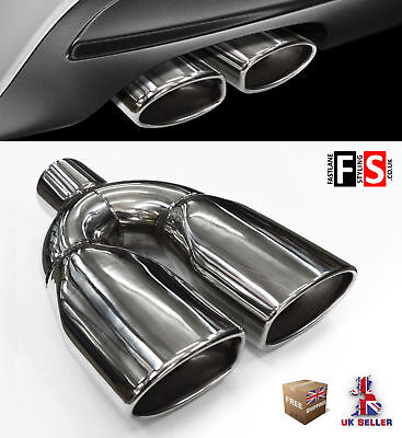 Universal Stainless Steel Exhaust Tailpipe Tip Twin Yfx-0338  Bee3