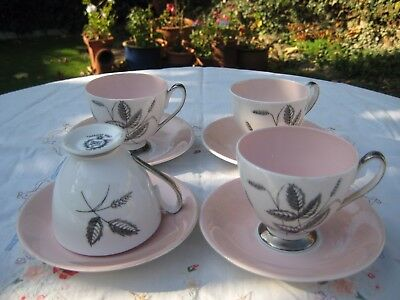 """Vintage Queen Anne 'Harvest Pink"""" Coffee cups and saucers x 4"""