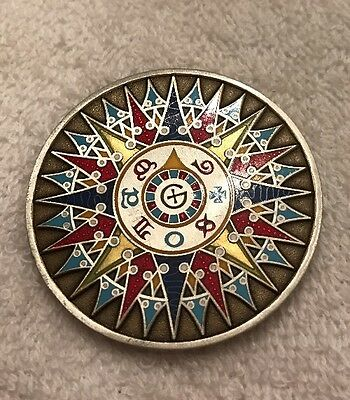 2008 Compass Rose Geocoin Unactivated Antique Silver And Bronze