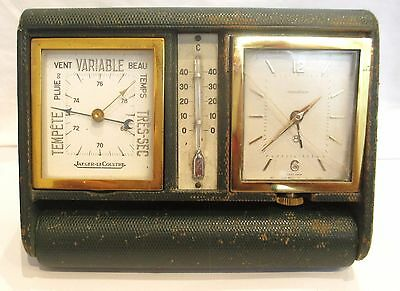 An Art Deco Folding Jaeger le Coultre Travel Clock with Barometer & Thermometer