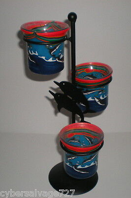 Dolphin Decorated Tea Light Candle Holder Tree Holds 3 Candles - Nautical Decor