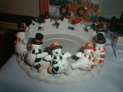 Vtg Partylite Frolicking Frostys 3 Wick Candle Holder MIB