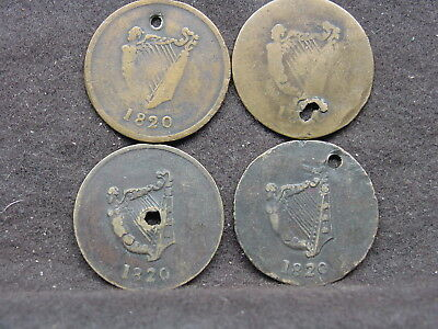 four 1820 Harp & Bust Half Penny Token Coin Lower Canada