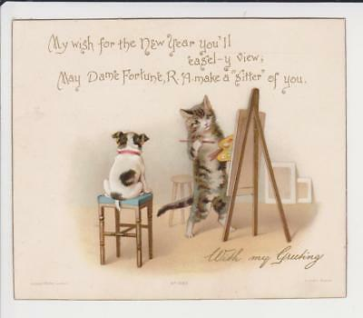 Victorian New Year Card Ernest Nister Anthropomorphic Cat Artist Painting Dog