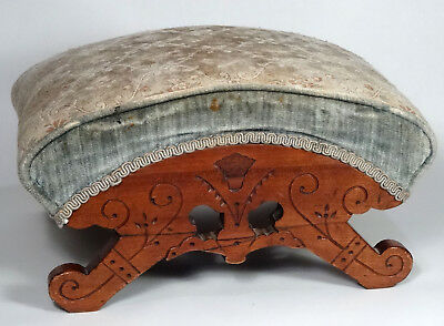 Antique 1870's EASTLAKE Carved Arch Top Footstool, Foot Rest