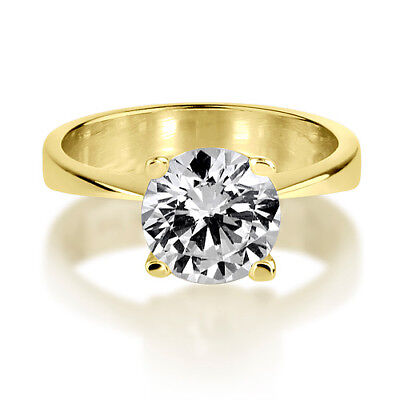 0.75 Ct Authentic Solitaire Round Cut Diamond 18K Yellow Gold Promise Ring Nwt