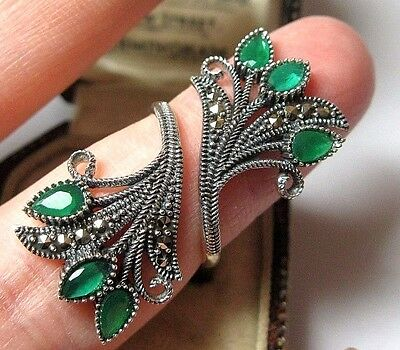 Vintage Design Solid Sterling SILVER Marcasite Emerald Crystal Jewellery RING