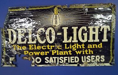 DELCO LIGHT PLANT EMBOSSED  TIN sign 50000 SATISFIED USERS