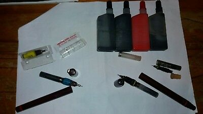 VINTAGE ROTRING PENS INKS NIBS ISOGRAPH MICRONORM 0.35 0.7 0.2 0.5 tech drawing