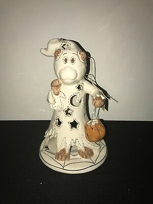 "blue sky clayworks. Halloween.  "" bear as a ghost candle house"""