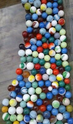 LOT of Vintage Glass Marbles Small, Medium & Large Many Color Variations