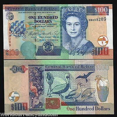 Belize $100 P71B 2006 Gb Uk Queen Tapir Pelican Unc Rare Caribbean Note