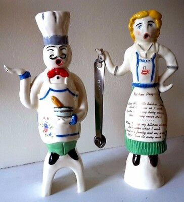 Adrian Pottery Kitchen Couple Pie Birds Pastry Chef and Cook Rare Collectables