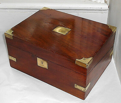 Antique Victorian Mahogany Campaign Writing Box With Leather Lined Slope