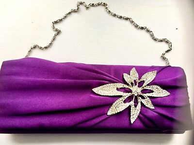 Purple Fabric Purse With Flattering Diamantes
