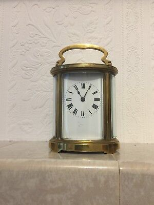 Antique Rare French Oval Carriage Clock White Enamel Dial