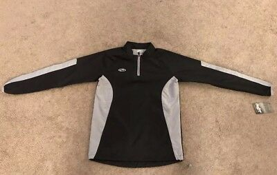 Rawlings Youth large Long Sleeve Batting Cage Jacket Color: Black and Gray