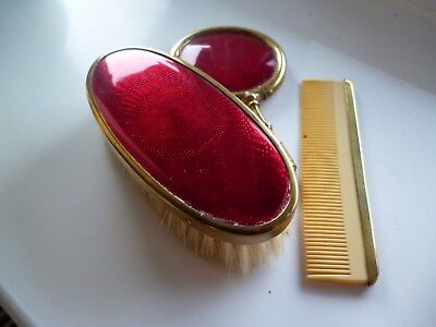 Vintage Enamel Style Child's Hand Mirror, Brush & Comb set