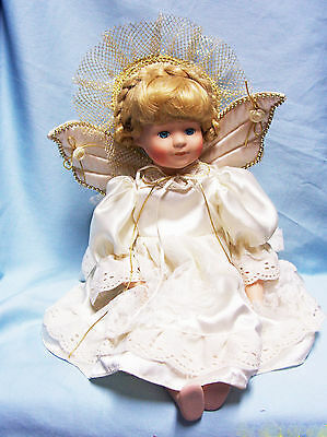"""Beautiful Porcelain Angel Sitting Doll Quilted Wings Blonde Hair 17""""  Blue Eyes"""