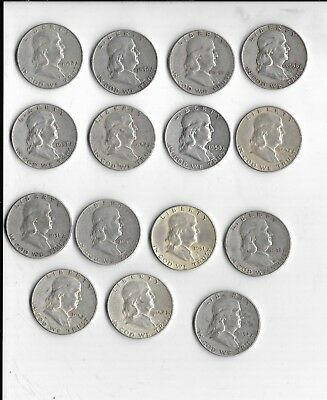 Lot of 15 Franklin Half Dollars Assorted Dates Circulated 90% Silver
