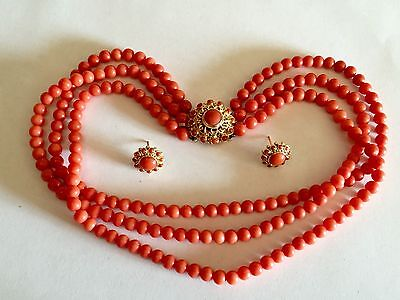 Antique EXCELLENTcond natural NO dye red round coral beads necklace earrings 珊瑚