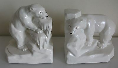 Art Deco  Polar Bears Ceramic 'onnaing' French Bookends  Good Condition