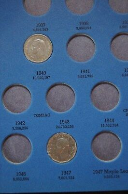 7  Canadian Nickels, 1940 - 1961, Raw Ungraded