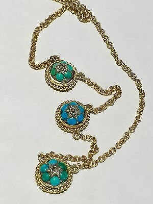 Victorian Persian blue turquoise cabochon rose cut diamonds 14k gold necklace