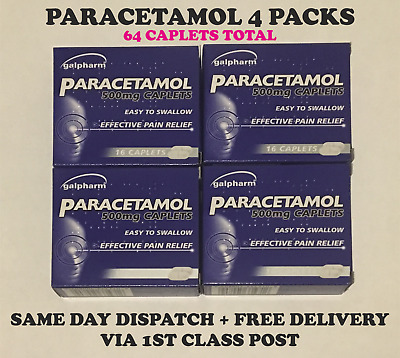64 Paracetamol 500mg Caplets ☆Joint☆Back☆Muscle☆Migraine☆Pain Relief☆