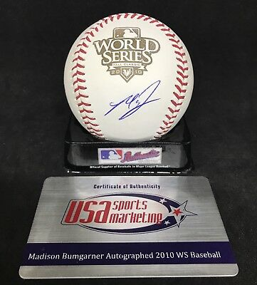 MADISON BUMGARNER Signed Official 2010 WORLD SERIES Baseball w/ JSA COA + USA