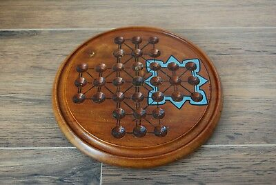 "Antique Victorian Hardwood Solitaire Board 8"" Diameter Very Nice For Marbles"