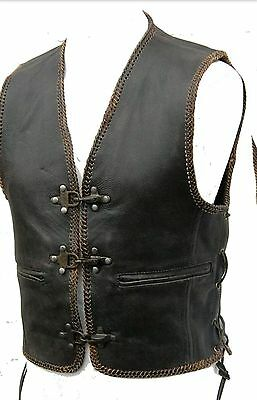Mens Real Leather Biker Waistcoat Vest Fish Hook Buckle / Special Offer £19.99