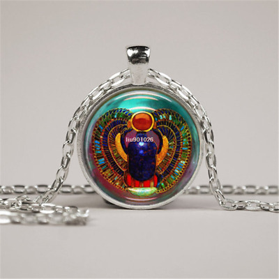 Scarab Necklace Glass Tile Necklace Egyptian Necklace Glass Jewelry Pendant Wome