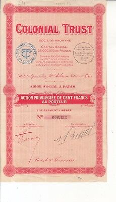 Scripophily Vintage Colonial Trust Share / Loan Certificate Dated 1928