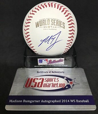 MADISON BUMGARNER Signed Official 2014 WORLD SERIES Baseball w/ JSA COA + USA