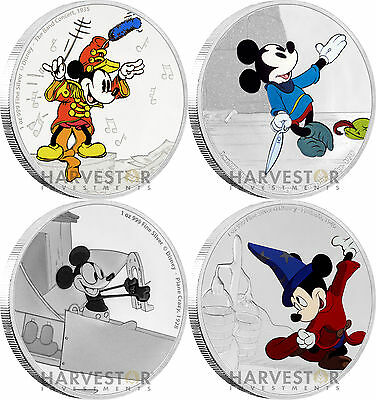 Disney Mickey Through The Ages - 4-Coin Set - 1 Oz. Silver Coins - With All Ogp