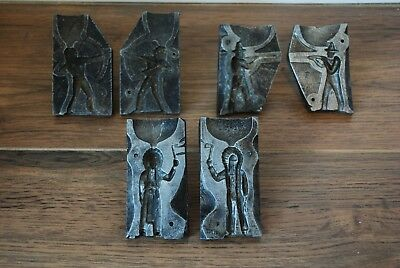 Lot Of 3 Vintage Aluminium Moulds For Lead Soliers Cowboys & Indians