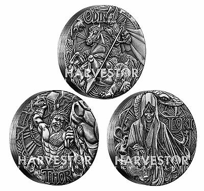 2016 Silver Norse Gods Complete 3-Coin Set - Odin, Thor, Loki - All Ogp And Coa