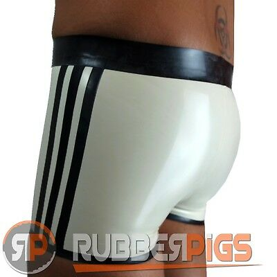 Mens briefs Rubber shorts latex clothing sexy shorts 3 stripe design rubber